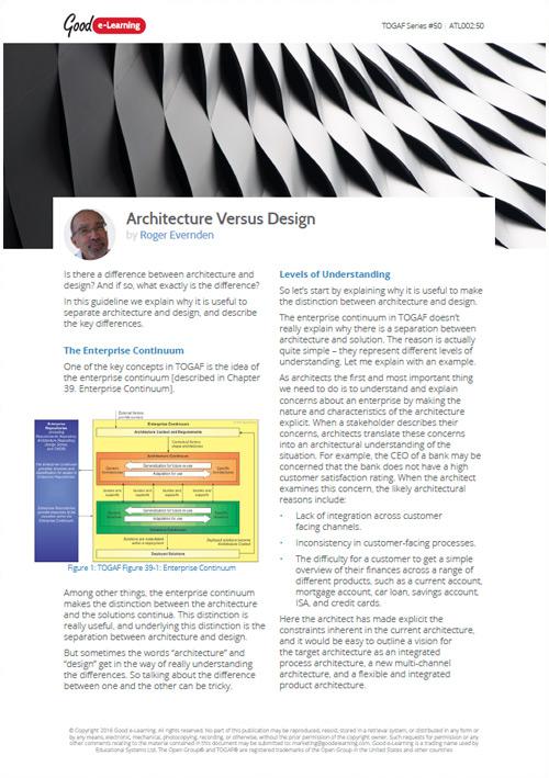 TOGAF: Architecture Versus Design