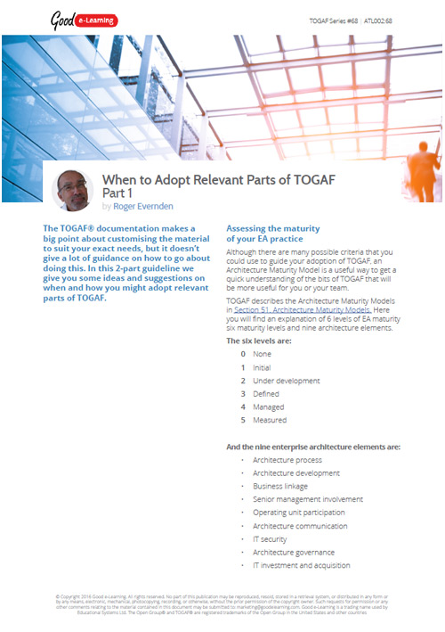 When to Adopt Relevant Parts of TOGAF - Part 1