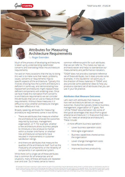 Attributes for Measuring Architecture Requirements