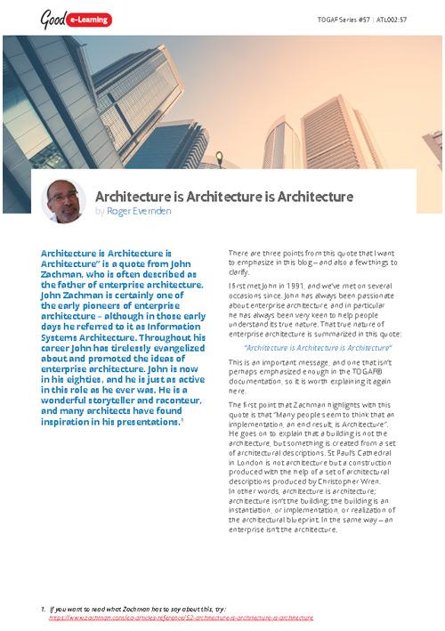 Architecture is Architecture is Architecture