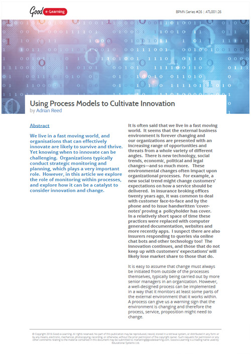 BPMN - Using Process Models to Cultivate Innovation