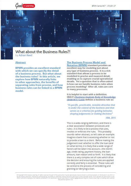 BPMN: What About the Business Rules?!