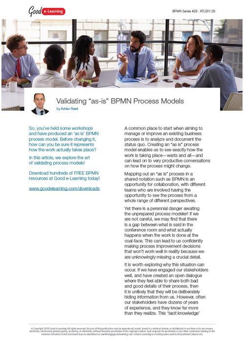 Validating 'as-is' BPMN Process Models