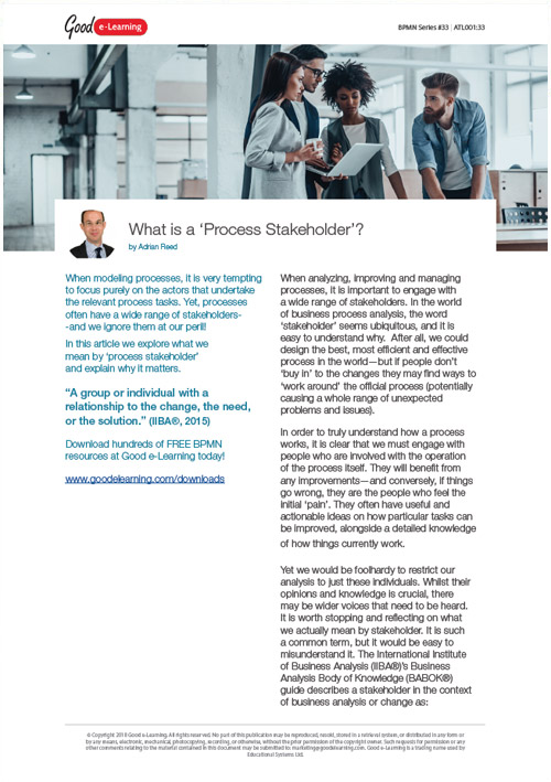 """BPMN - What is a """"Process Stakeholder""""?"""