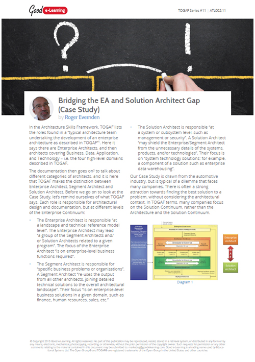 Bridging the EA and Solution Architect Gap - Case Study image