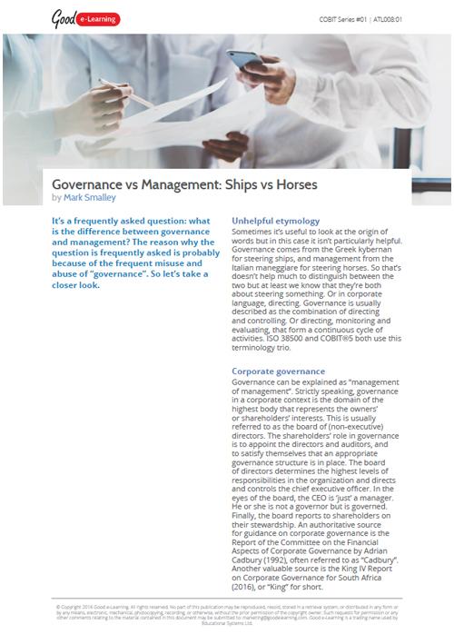 Governance VS Management, Ships Vs Horses
