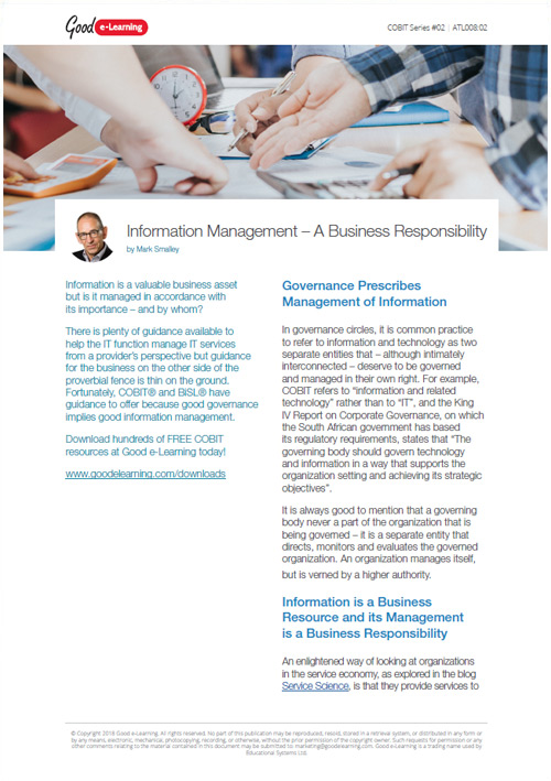 Information Management - A Business Responsibility