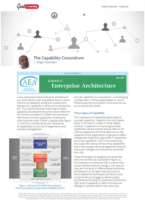 The Capability Conundrum - As Featured In the Journal of Enterprise Architecture image
