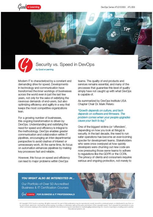 Security vs Speed in DevOps