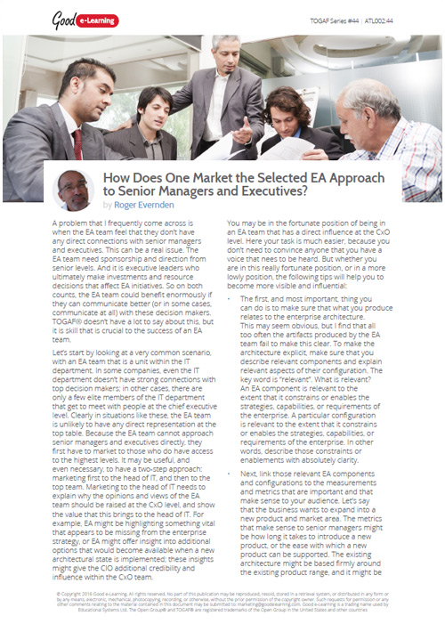 How to Market the Selected EA Approach to Senior Managers image