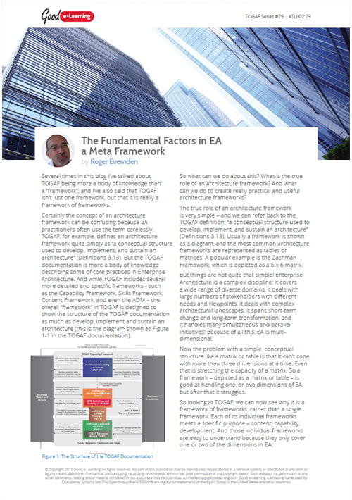 The Fundamental Factors In Enterprise Architecture