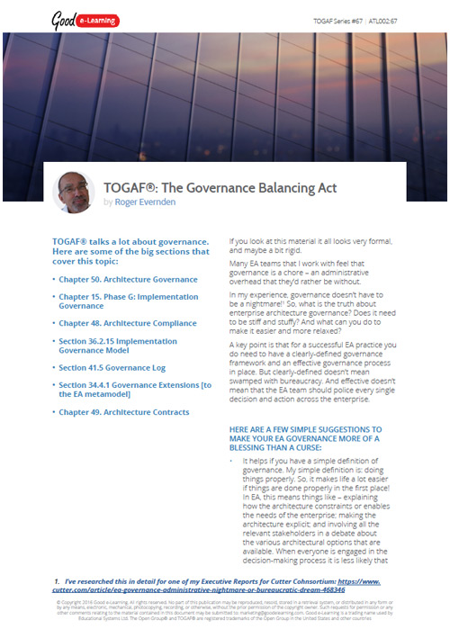 TOGAF and the Governance Balancing Act