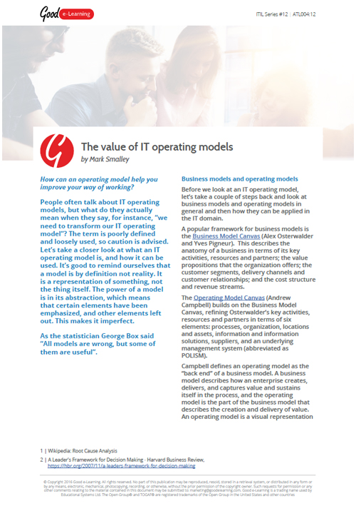 Itil The Value Of It Operating Models Good E Learning