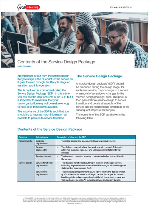 The Contents of the ITIL Service Design Package