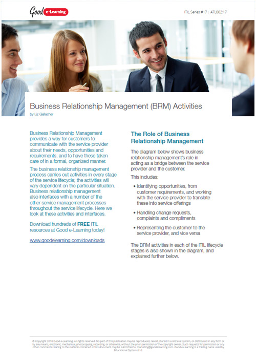 Business Relationship Management Activities Within the ITIL Lifecycle