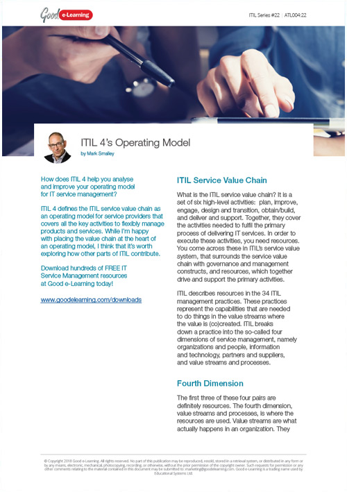 The ITIL 4 Operating Model