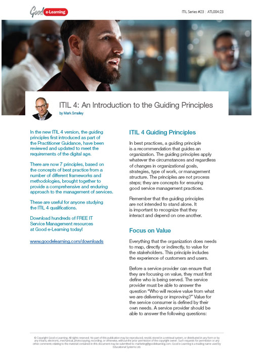 ITIL 4: Introduction to the Guiding Principles