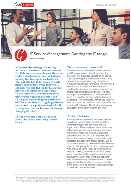 IT Service Management: Dancing the IT Tango