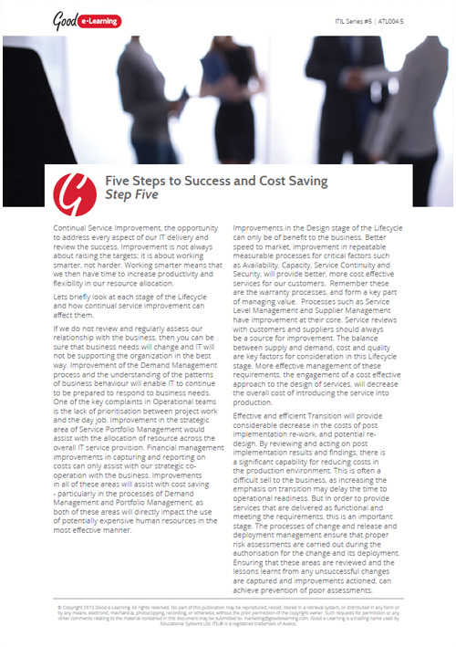 The ITIL Framework - Tips to Success and Cost Saving: Step 5 image