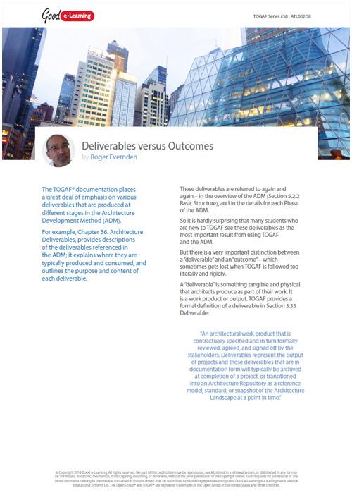 togaf deliverables vs outcomes whitepaper