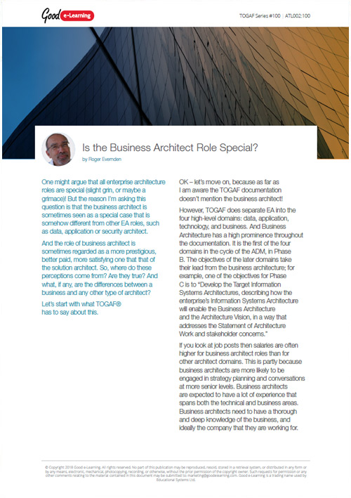 Is the Business Architect Role Special?