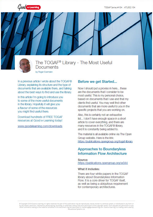 The TOGAF Library - The Most Useful Documents image