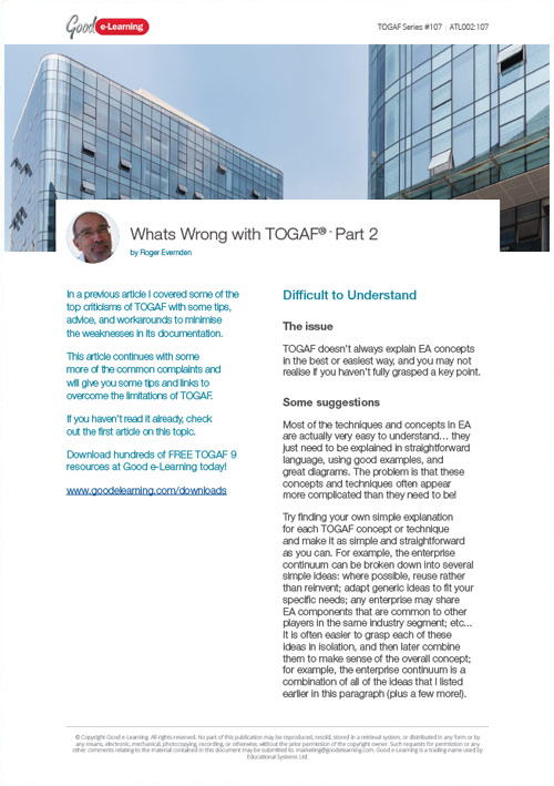 What's Wrong with TOGAF? - Part 2