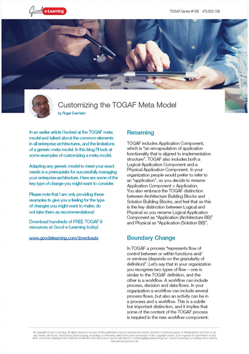 Customizing the TOGAF Meta Model