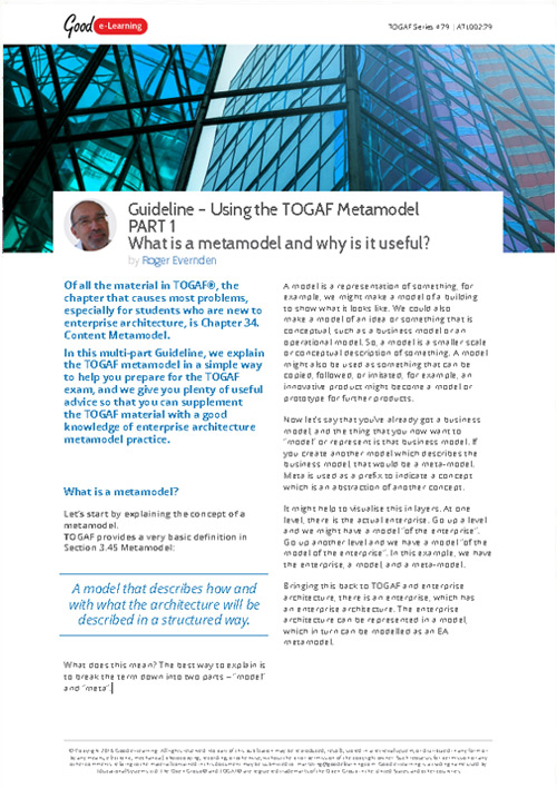 Using the TOGAF Metamodel Part 1 - What is a Metamodel and why is it Useful?