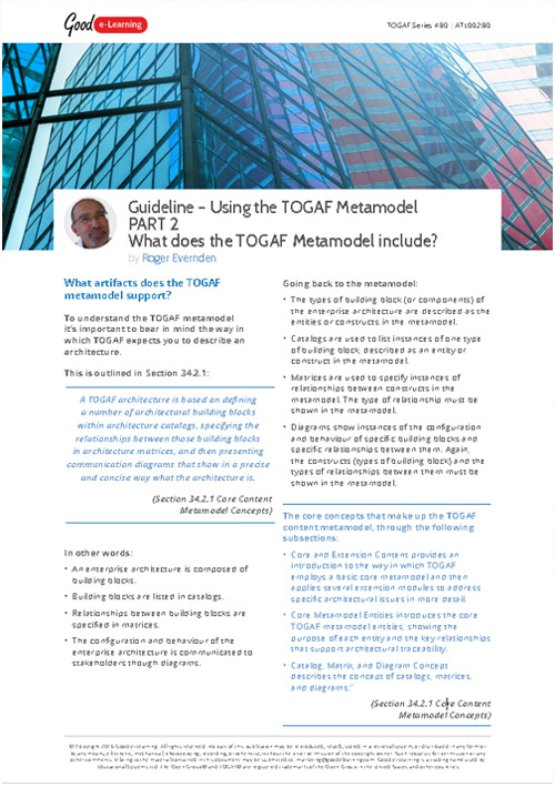 Using the TOGAF Metamodel Part 2 - What Does the TOGAF Metamodel include?