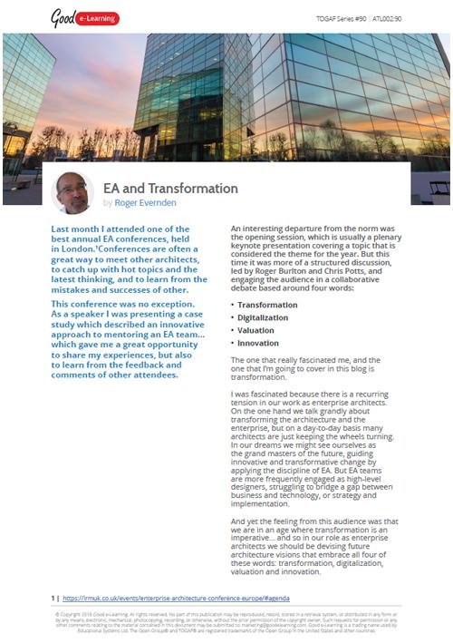 Enterprise Architecture and Transformation