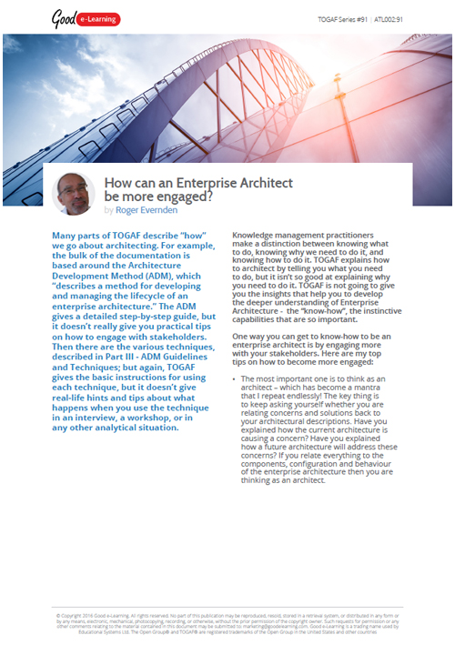 TOGAF: How can an Enterprise Architect be more Engaged? image