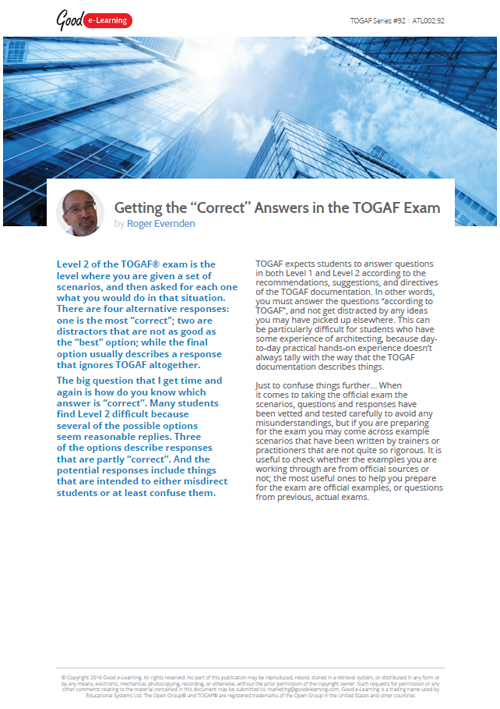 Getting the Correct Answer in the TOGAF Level 2 Exam