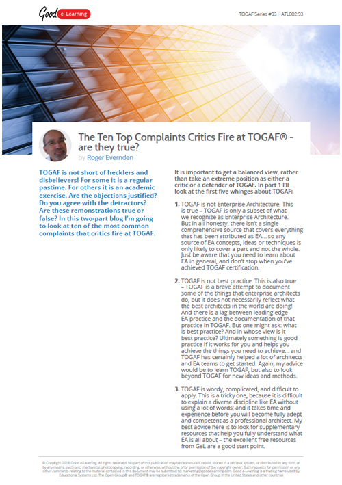 The Top 10 Complaints of TOGAF - Part 1