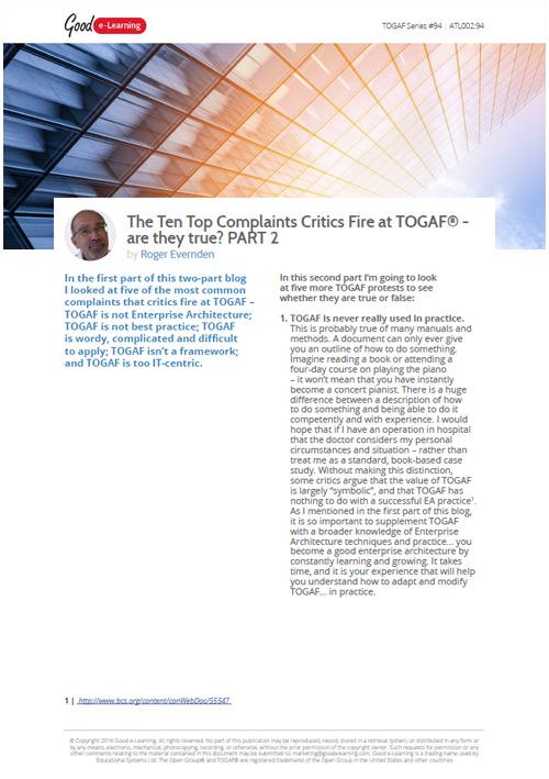 The Top 10 Complaints of TOGAF - Part 2