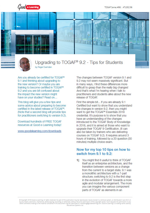 Upgrading to TOGAF 9.2 - Tips for Students