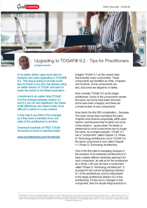 Upgrading to TOGAF 9.2 - Tips for Practitioners