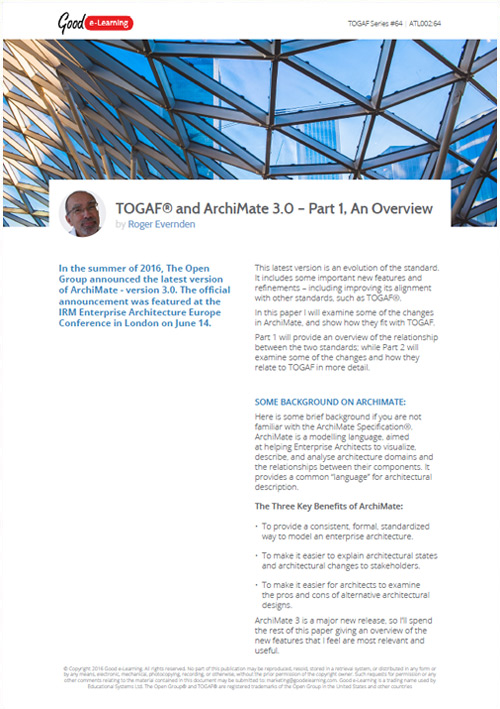 The Relationship Between TOGAF and ArchiMate 3.0 - Part 1