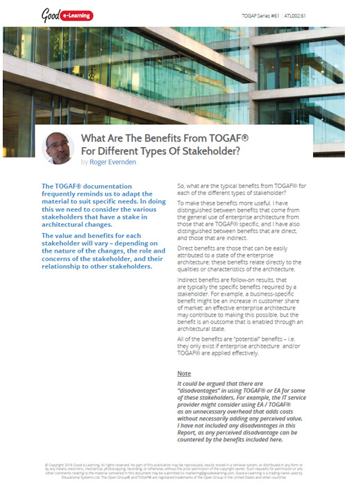 What Are The Benefits From TOGAF For Different Types Of Stakeholder?