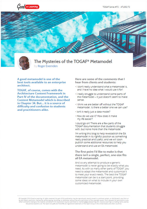 The Mysteries of the TOGAF Metamodel image