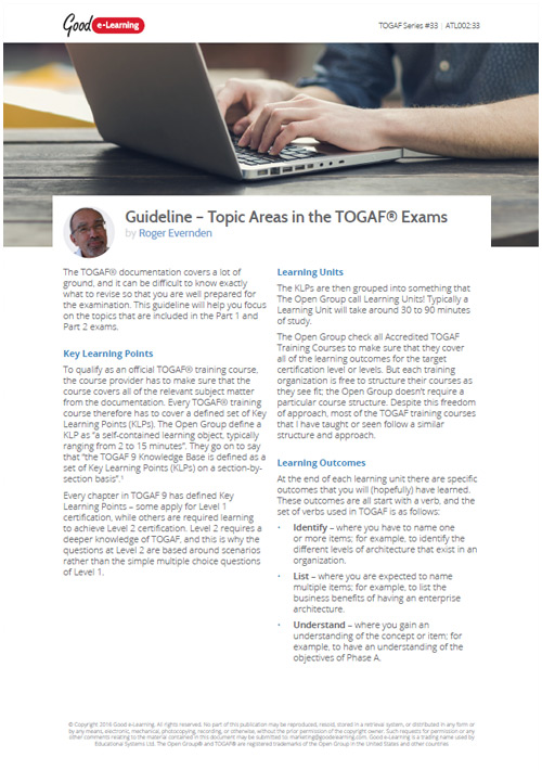 The Different Topic Areas Covered Within the TOGAF Exams image