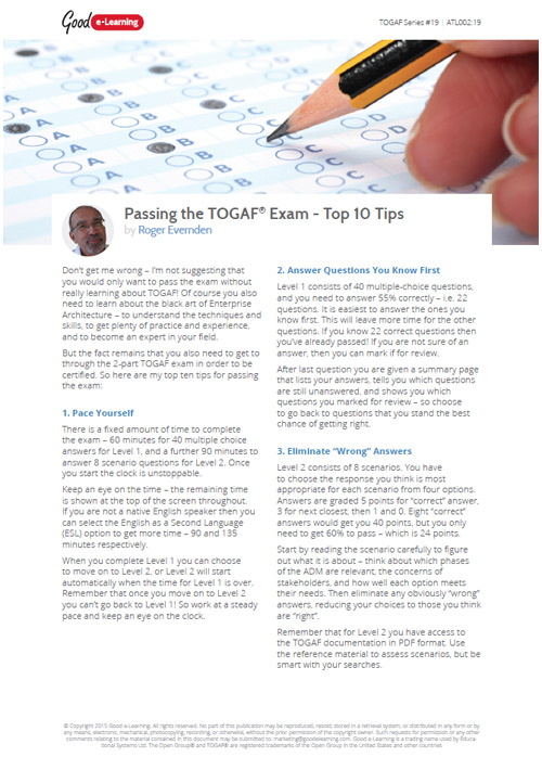 Passing the TOGAF Exam - Top 10 Tips