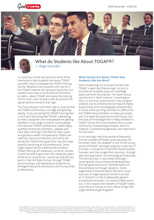What do Students Like About TOGAF? image