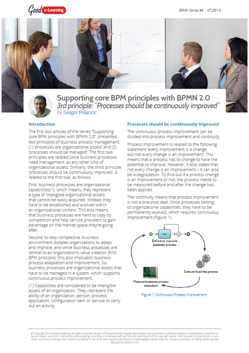Supporting core BPM principles with BPMN 2.0 Part 3