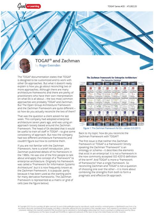 EA Frameworks - TOGAF and Zachman image