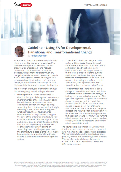 Using EA for Developmental, Transitional and Transformational Change