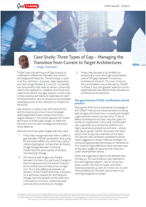 TOGAF Case Study - Three Types of Gap