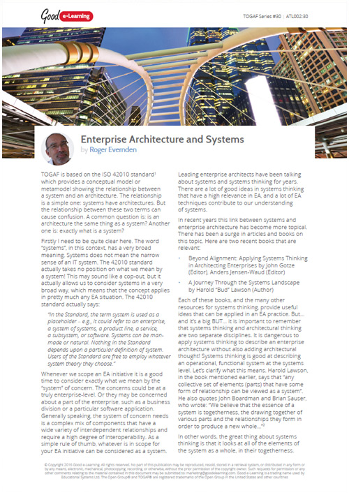 Enterprise Architecture and Systems