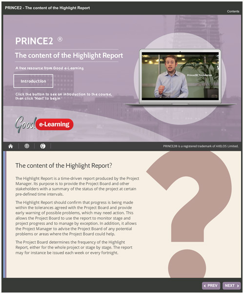 The PRINCE2 Highlight Report