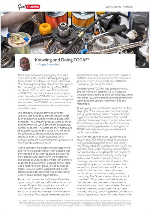 Knowing and Doing TOGAF - Case Study